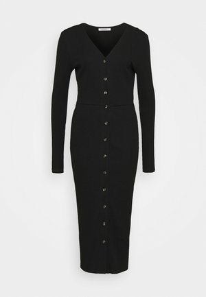 BUTTON DOWN LONG SLEEVE DRESS - Pletené šaty - black