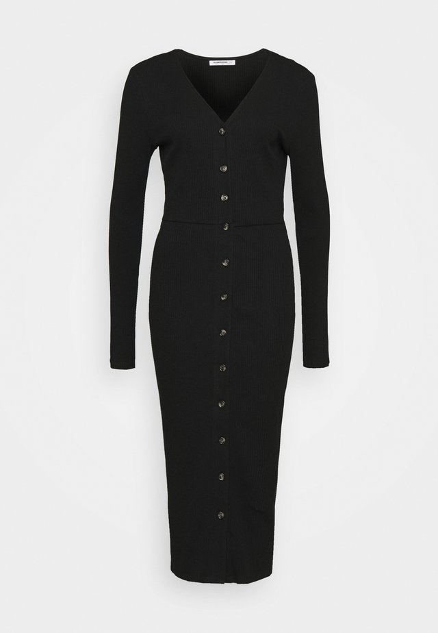 BUTTON DOWN LONG SLEEVE DRESS - Hverdagskjoler - black