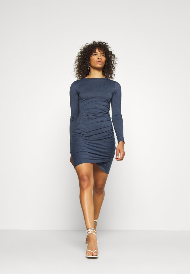 WRAPOVER DRESS - Jerseykjole - melange navy