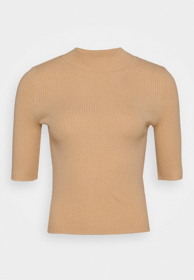 MID SLEEVE HIGH NECK TOP - Strikpullover /Striktrøjer - beige