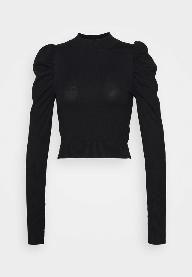 PUFF SLEEVE CROP JUMPER - Strikkegenser - black