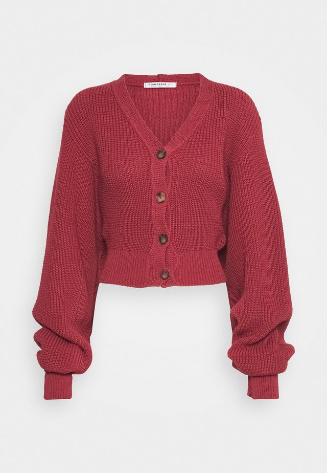 CROPPED BATWING SLEEVE CHUNKY CARDIGAN - Vest - raspberry