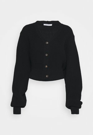 CROPPED BATWING SLEEVE CHUNKY CARDIGAN - Strickjacke - black