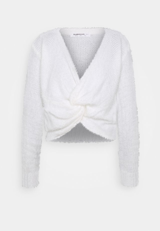 FLUFFY KNOT FRONT CROP JUMPER - Trui - white