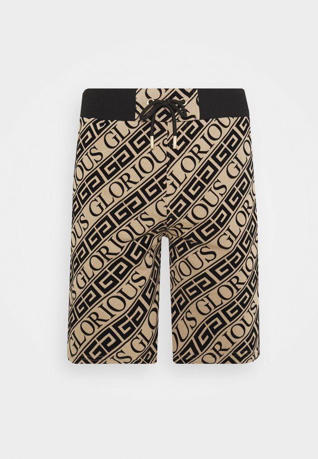BANTU FLOCK PRINTED SHORT - Shorts - dark sand/black