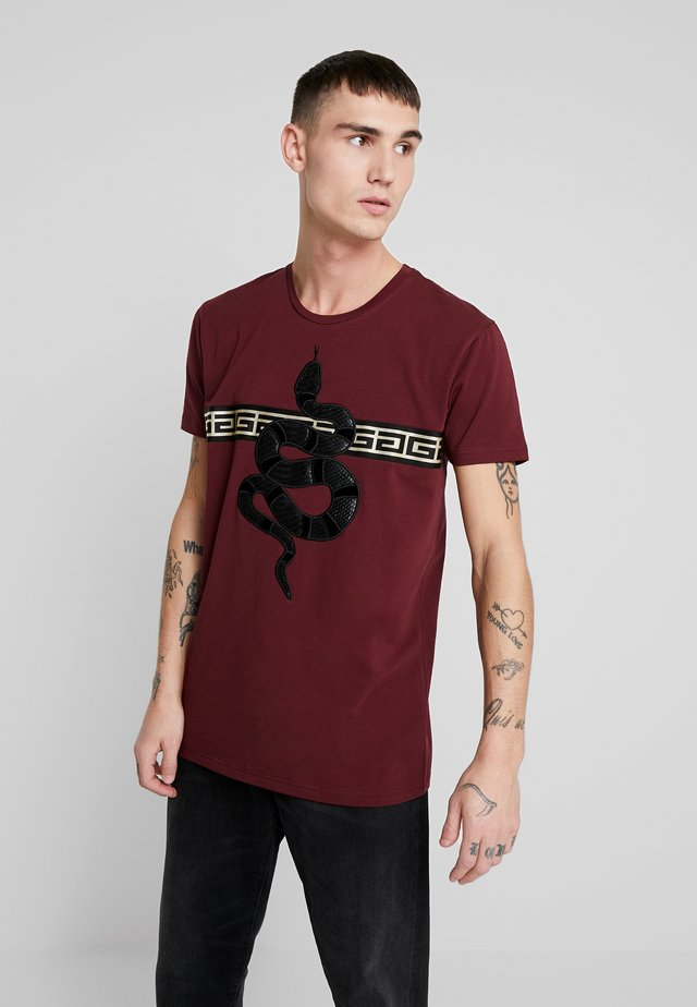 LEVANEY - T-shirt con stampa - burguindy