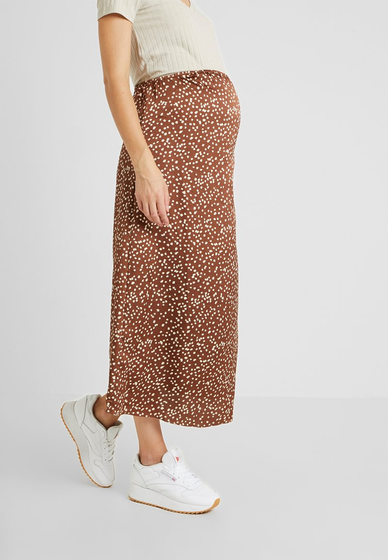 Glamorous Bloom - MIDI SKIRT SPOT - Kokerrok - brown/cream