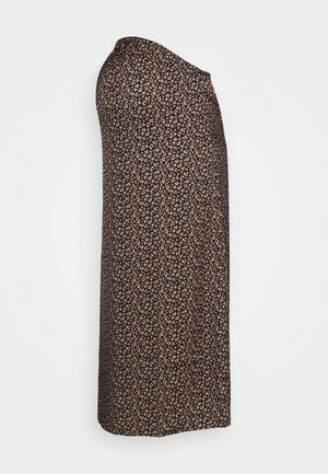 MIDI SKIRT SPOT - Falda acampanada - brown/cream