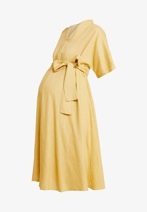 LOOK SHORT SLEEVE MIDI DRESS - Day dress - yellow