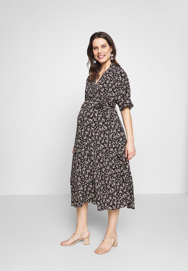 LOOK SHORT SLEEVE MIDI DRESS - Denní šaty - black