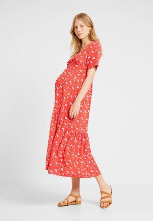 FULL SKIRT V NECK DRESS - Shirt dress - red