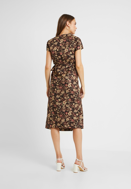 Glamorous Bloom D'été Wrap DressRobe Sleeve True Brown Short CeBdroWx