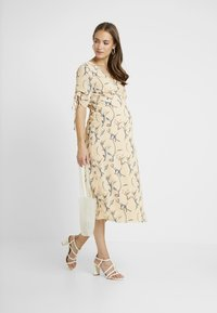Glamorous Bloom - MIDI V NECK WRAP FLORAL DRESS - Korte jurk - ochre grey - 1
