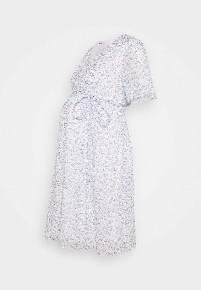 PIN SPOT WRAP DRESS - Robe d'été - white/lavender