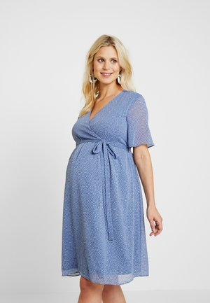 PIN SPOT WRAP DRESS - Sukienka letnia - blue