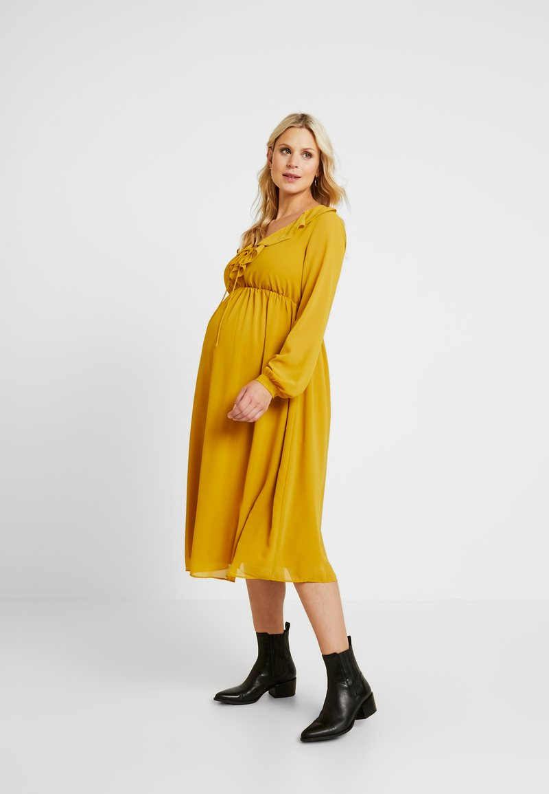 Glamorous Bloom - MIDI LONGSLEEVE DRESS - Denní šaty - mustard