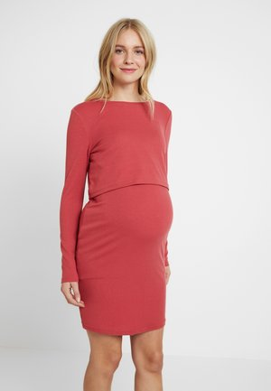 PLAIN NURSING DRESS - Vestito di maglina - marsala