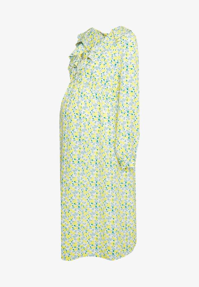 CARE LONGLSEEVE MIDI DRESS - Korte jurk - white/yellow