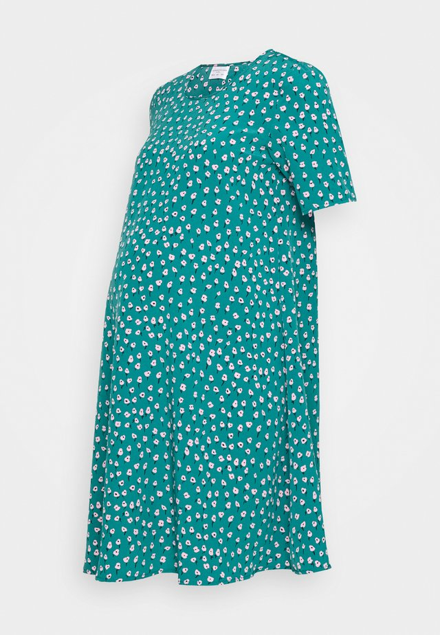 CARE MINI DRESS - Vapaa-ajan mekko - green ditsy crepe