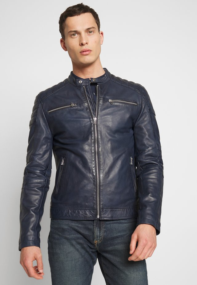 Leather jacket - denim blue