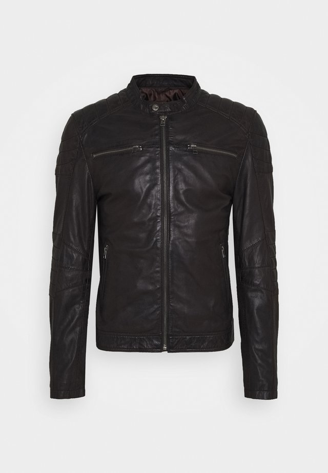 JACKET - Leather jacket - espresso