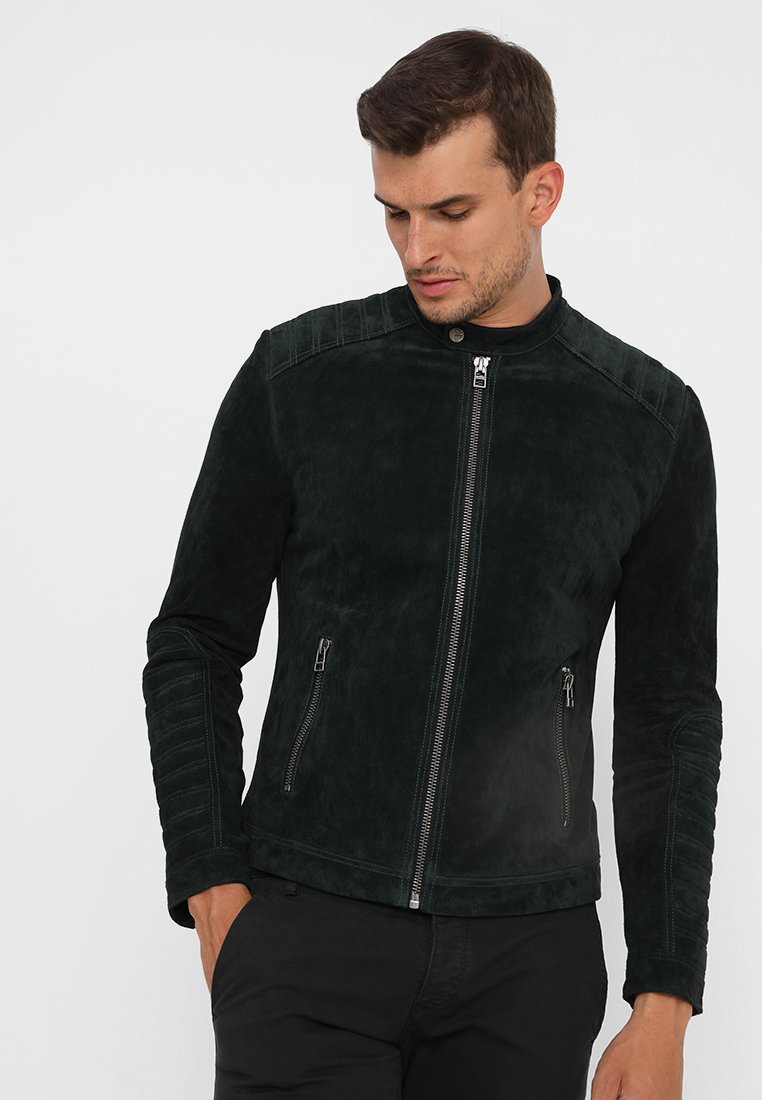 Goosecraft - ALBERT BIKE - Lederjacke - black olive