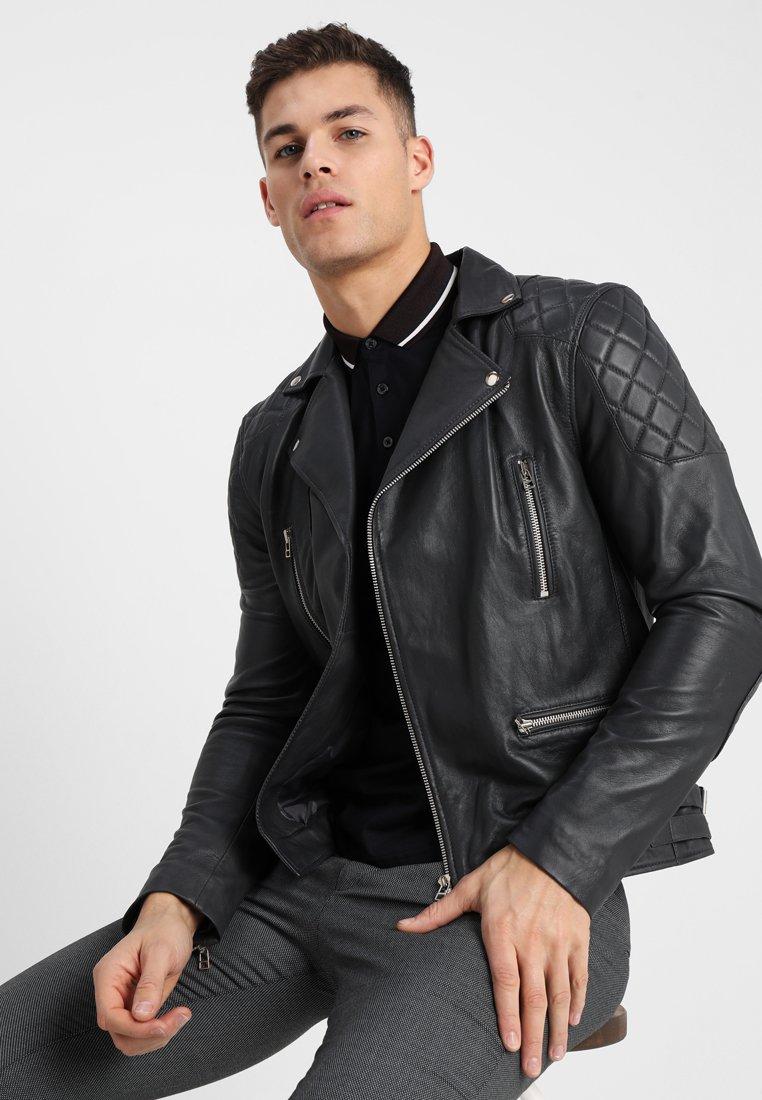 Goosecraft - PERFECTO - Leather jacket - deep grey