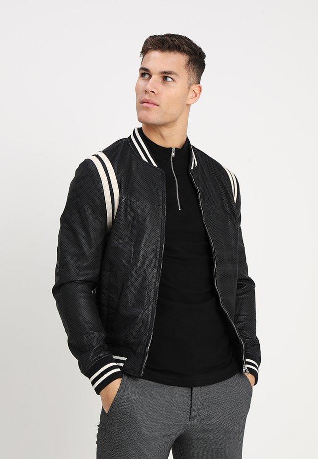 NOWELL BOMBER - Leather jacket - black/offwhite