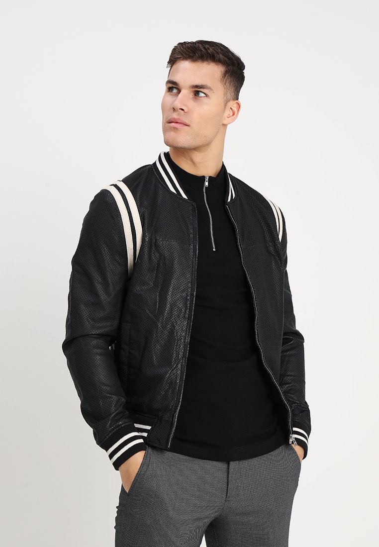 Goosecraft - NOWELL BOMBER - Leather jacket - black/offwhite
