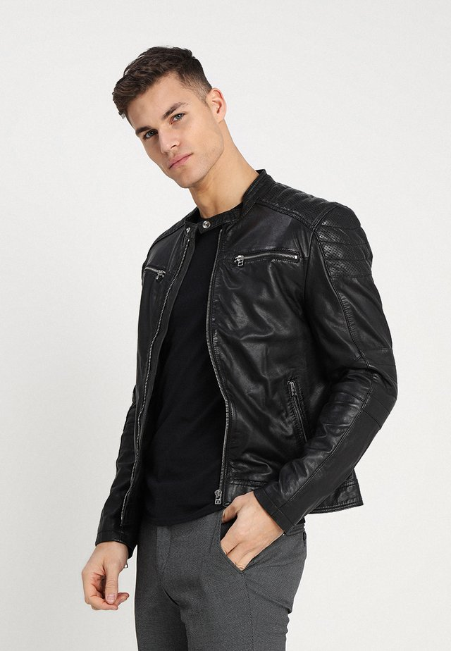 BIRMINGHAM BIKER - Leather jacket - black