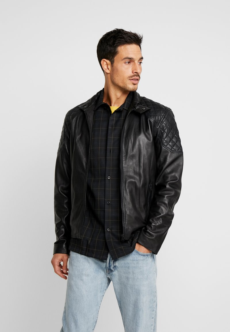 Goosecraft - DOUGLAS BIKER - Leather jacket - black