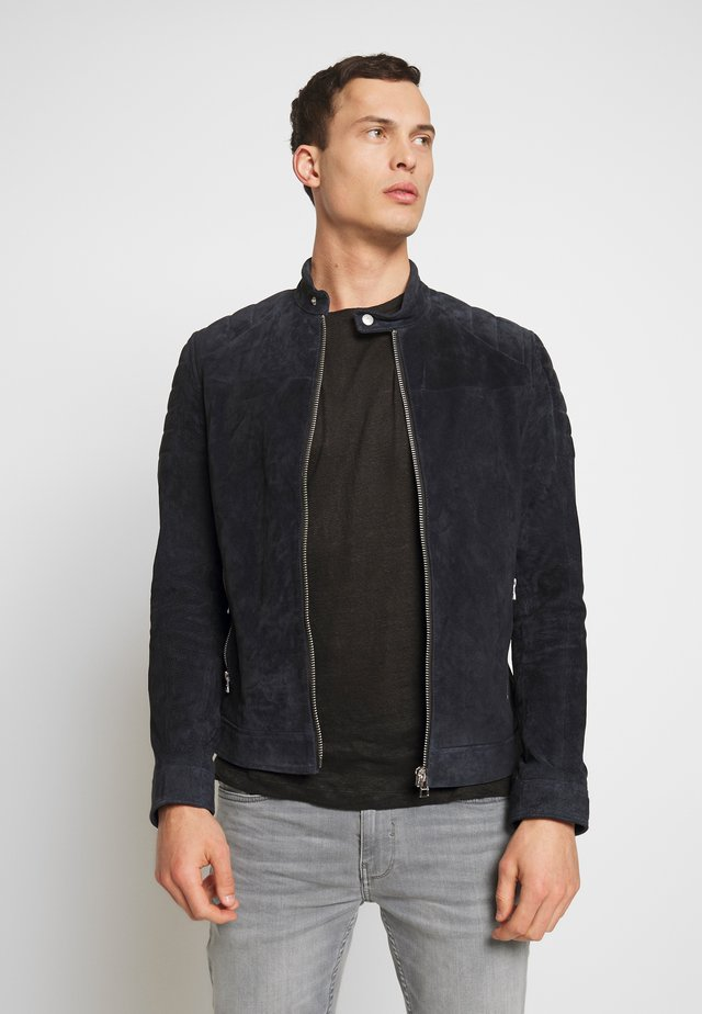 ANYTIME BIKER - Leather jacket - navy