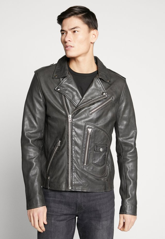 ALEX BIKER - Leather jacket - grey