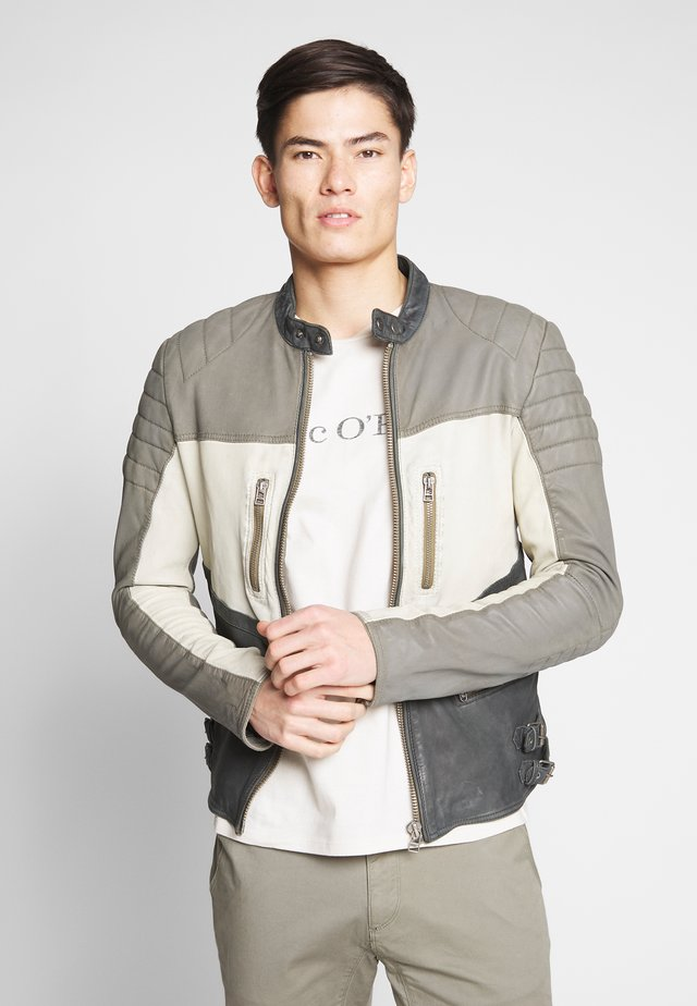 MARYLAND BIKER - Leather jacket - black/grey/white