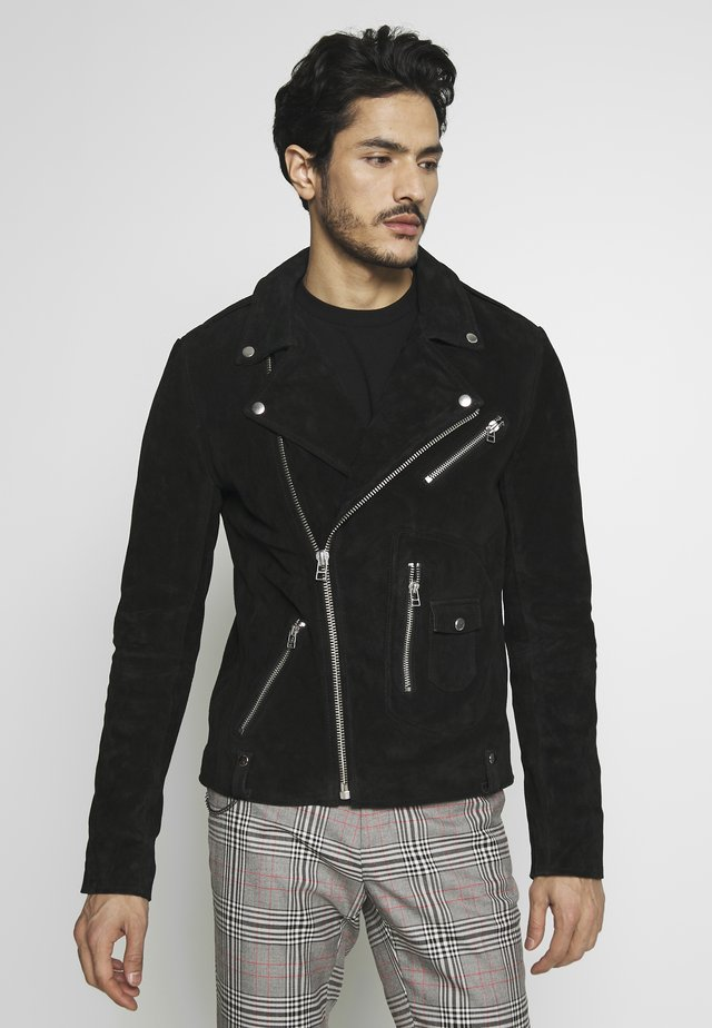 MAXIME BIKER - Leather jacket - black