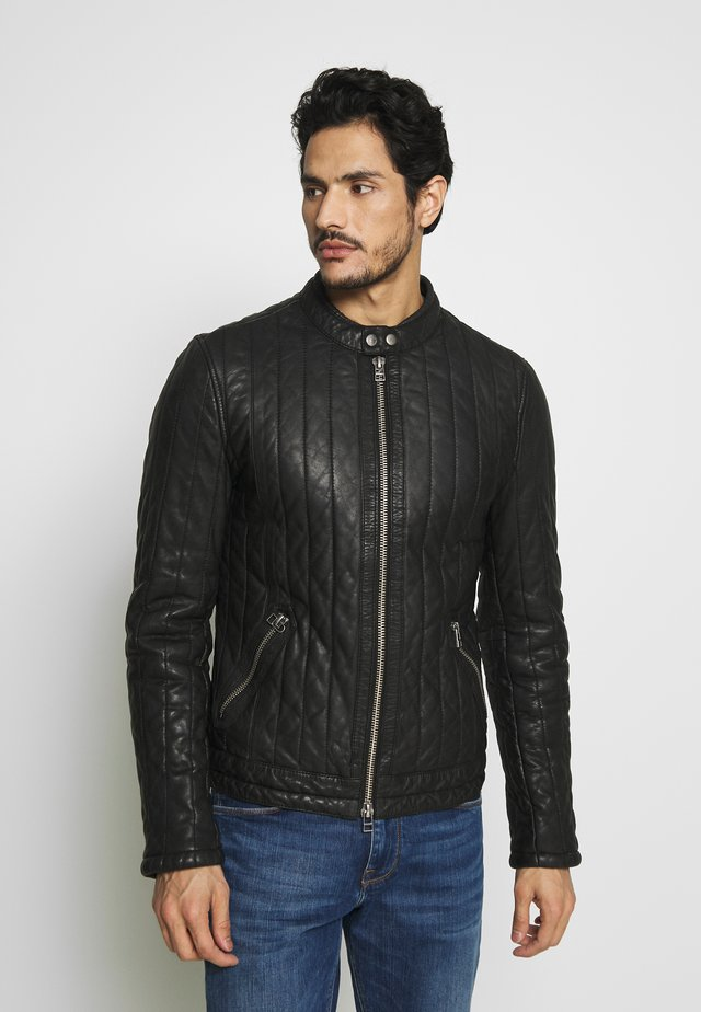 NOCTURNAL BIKER - Leather jacket - black