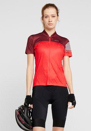 TRIKOT - T-Shirt print - hibiscus pink/chestnut red