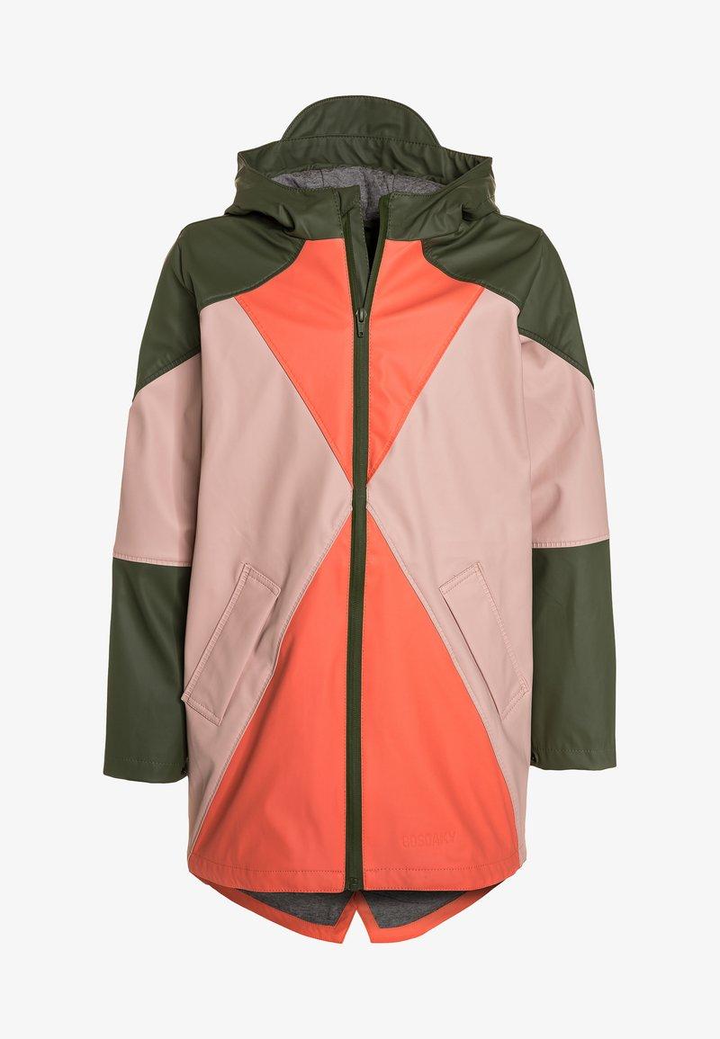 Gosoaky - KARMA CHAMELEON - Waterproof jacket - olivine/living coral