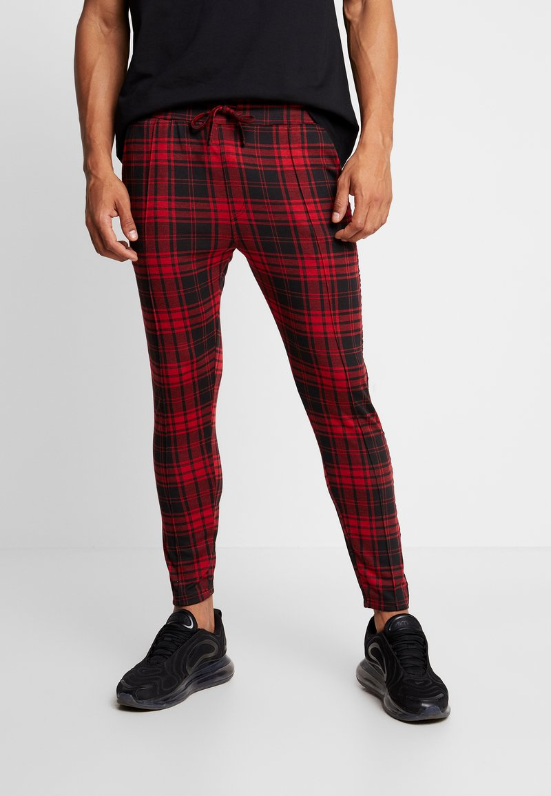Good For Nothing - FITTED TARTAN TAILORED PANTS WITH BRANDED TAPING - Kangashousut - red