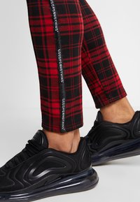 Good For Nothing - FITTED TARTAN TAILORED PANTS WITH BRANDED TAPING - Kangashousut - red - 3