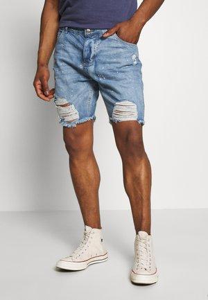 RIPPED SHORTS - Denim shorts - blue