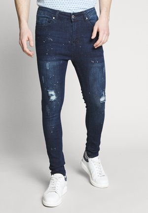 SKINNY WITH PAINT SPLATTER - Džíny Slim Fit - blue