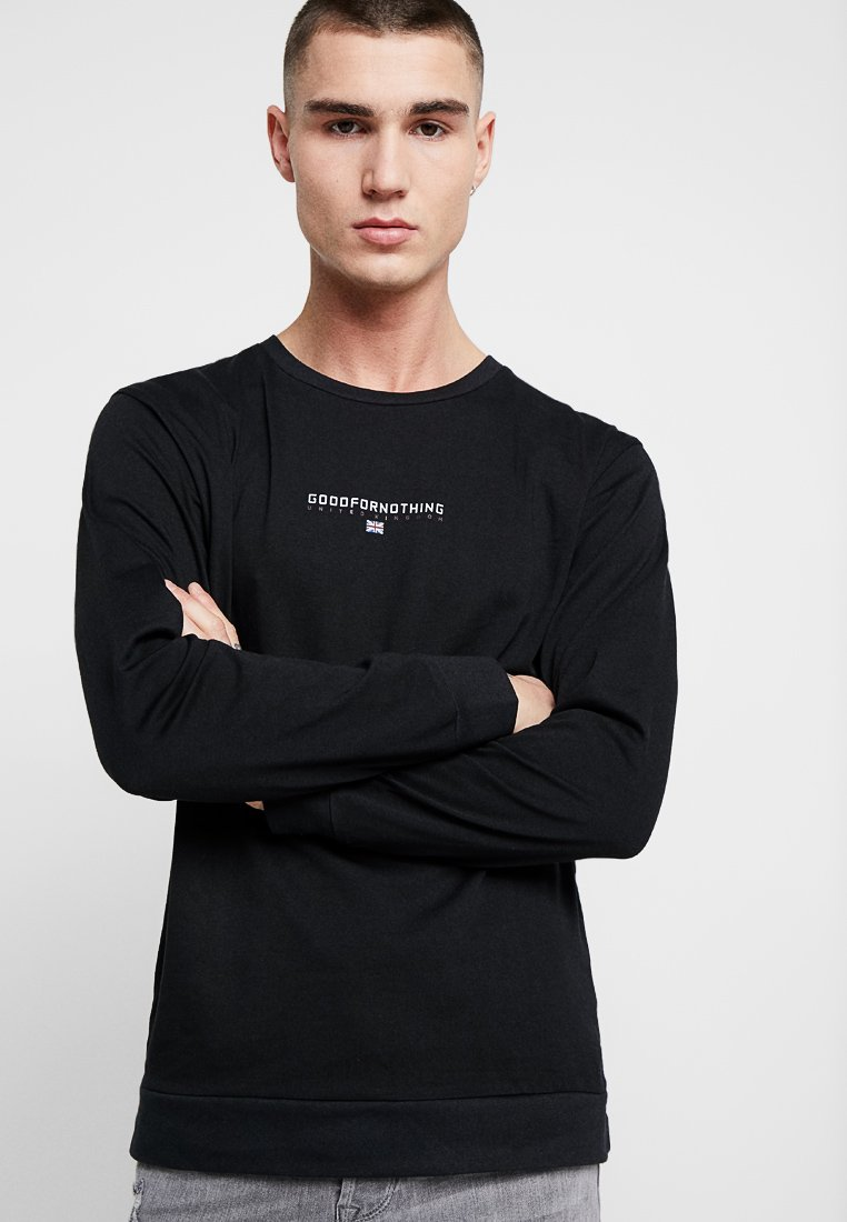 Good For Nothing - LONG SLEEVE TOP WITH RAISED RUBBER FRONT BRANDING - Langarmshirt - black