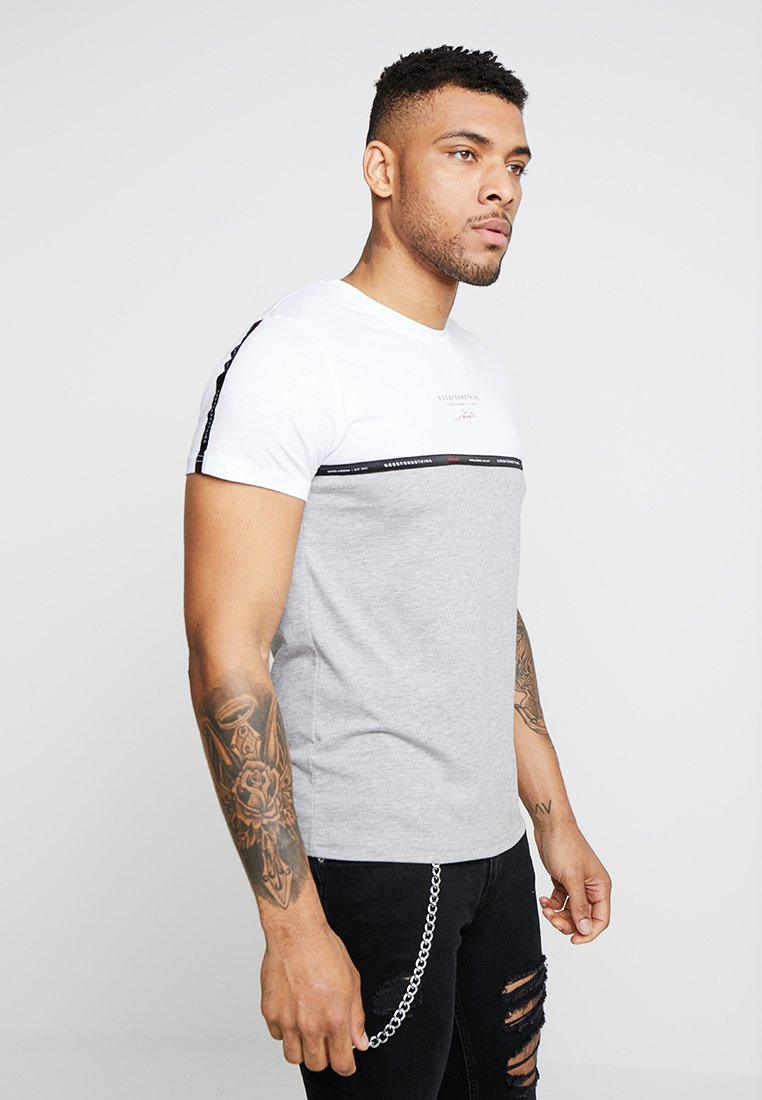 Good For Nothing - CUT SEW WITH TAPE DETAIL SCREEN - Print T-shirt - white/grey