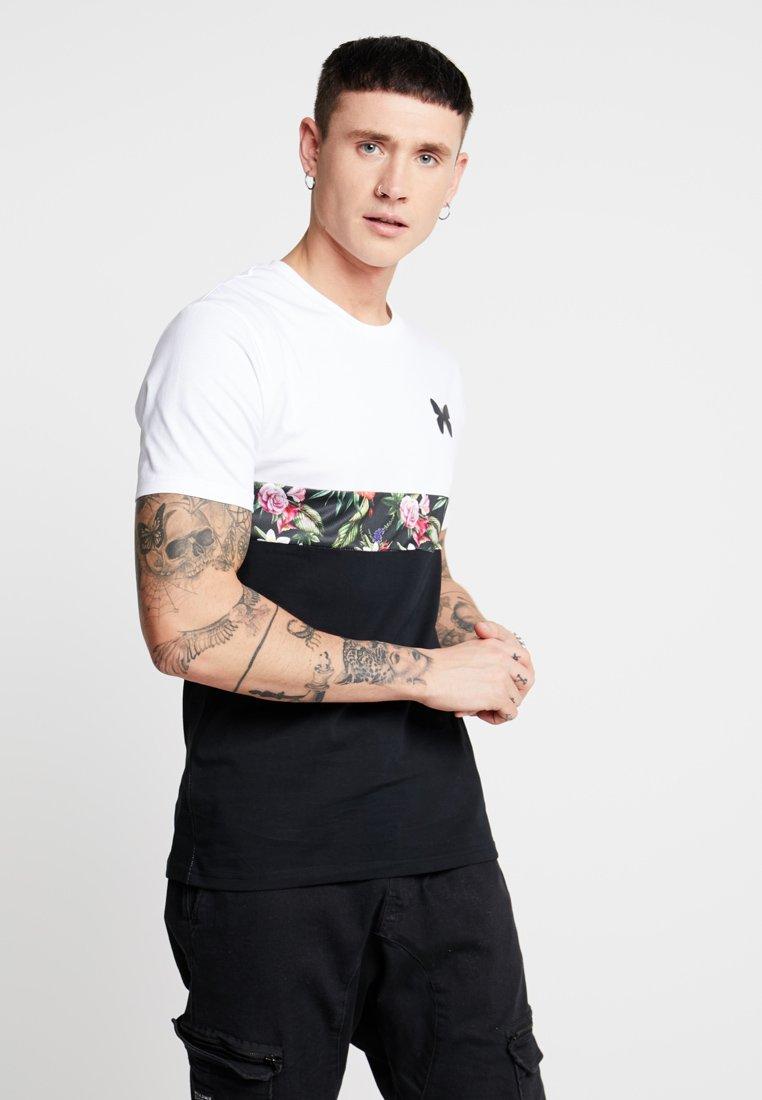 Good For Nothing - FLOWER STRIPE - T-Shirt print - white/black