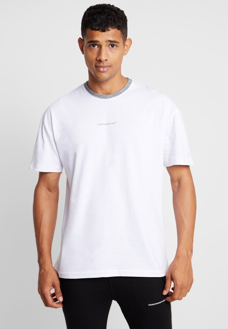 Good For Nothing - OVERSIZED WITH PRINCE OF WALES CHECK COLLAR - Print T-shirt - white