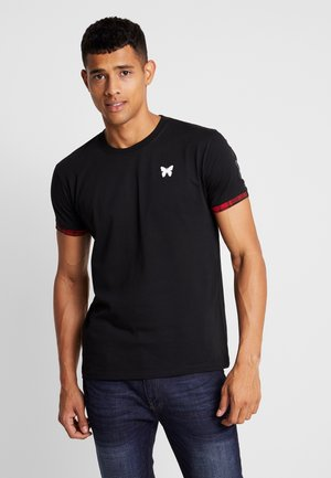 FITTED WITH TARTAN AND BRANDED TAPING - T-shirt basic - black