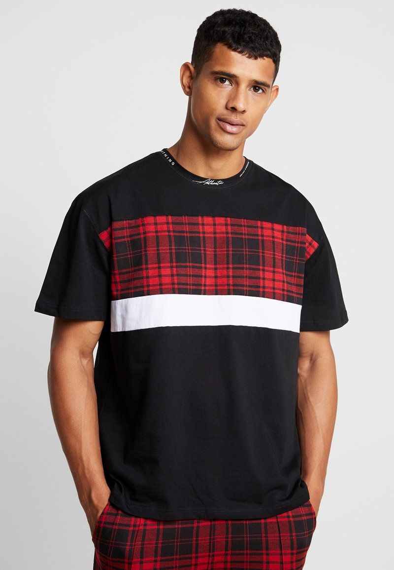 Good For Nothing - WITH TARTAN CUT AND SEW PANEL - Print T-shirt - black