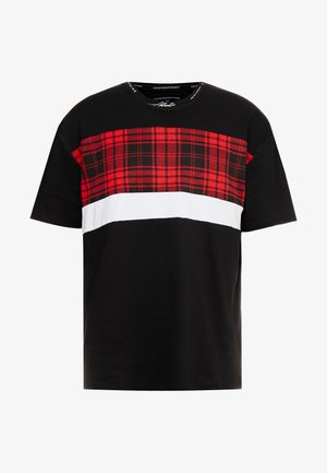 WITH TARTAN CUT AND SEW PANEL - Triko s potiskem - black