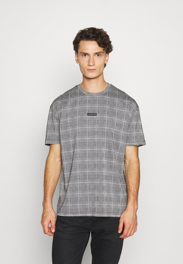 OVERSIZED PRINCE OF WALES CHECK - T-shirt med print - grey